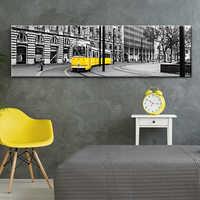 Retro Sarı Lizbon Tramvay Modern Sanat Tuval duvar resimleri Siyah ve Beyaz Tuval Baskılar Resim Sergisi Sanat Duvar ahşap çatkı duvar Dekor