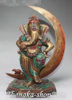 10 Old Tibet Turquoise Coral Bronze Ganapati Mammon Elephant God Buddha Statue