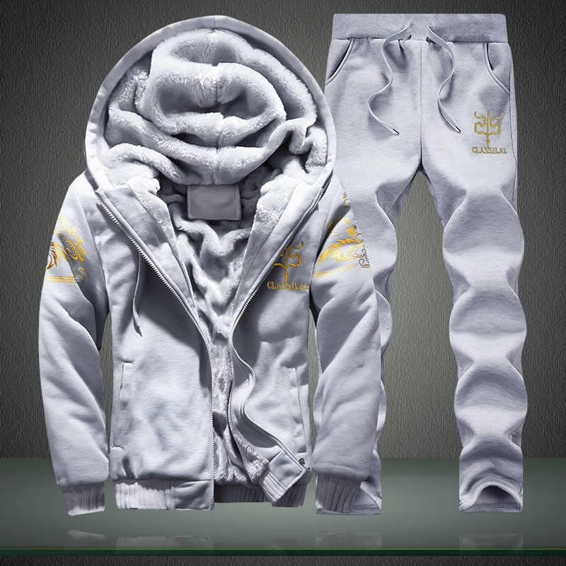 Мужской комплект повседневной спортивной одежды, серый повседневный спортивный костюм с флисовой подкладкой, утепленная толстовка свитшот с капюшоном и теплые штаны на зиму 2019