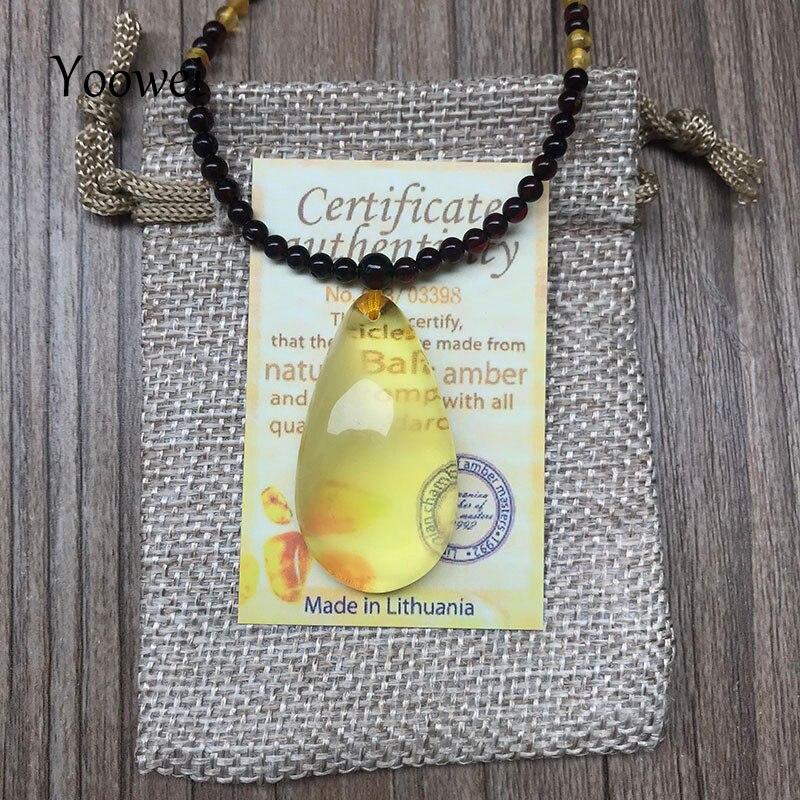Natural del Báltico ámbar Plata Esterlina 925 Corazón Colgante Cadena Collar Certificado