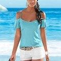 Жаркое лето женщины леди off-плечи шифон блузка с коротким рукавом пляж ну вечеринку топы