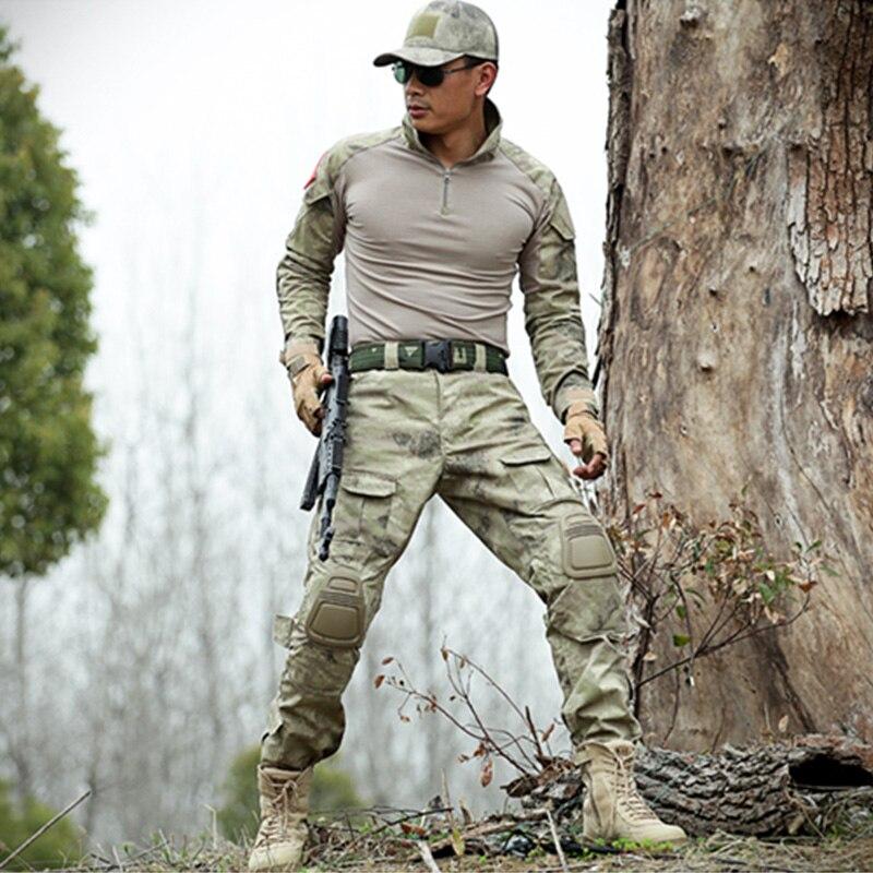 العسكرية التكتيكية مجموعات كامو دلتا قوة أدوات للفرق البحرية الضفدع الملابس دعوى الرجال القتالية T قميص + السراويل هنتر زي مموه-في مجموعات للرجال من ملابس الرجال على  مجموعة 1