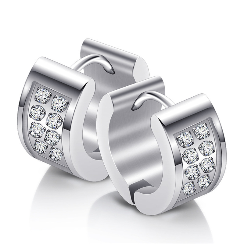 6 88mm Width Thick Clear Cubic Zircon Stud Earrings For Women High Quality Stainless Steel Jewelry Party Accessories in Stud Earrings from Jewelry Accessories