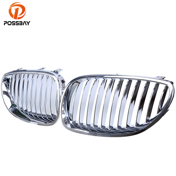 POSSBAY Car Grills for BMW 5-Series E60 Sedan/Touring E61 525d/525i/525xi 2003-2010 Chrome Silver Car Front Center Grille Grill