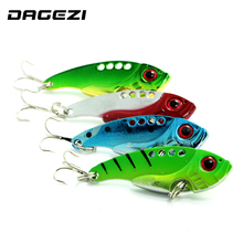 DAGEZI 4pcs/lot 5.5cm/11g Metal Fishing Lures Hard Bait Fresh Water Bass Walleye Crappie Green paint Fishing Tackle 104#