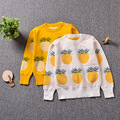 2017 New Spring Wear Pullovers Knitted Sweater White Yellow Pineapple Pattern Boys Girls Clothes Kids Sewater