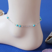 Hot Fashion Anklets For Women Foot Jewelry  Gold Silver Turquoise Bead Adjustable Anklet  Bracelet