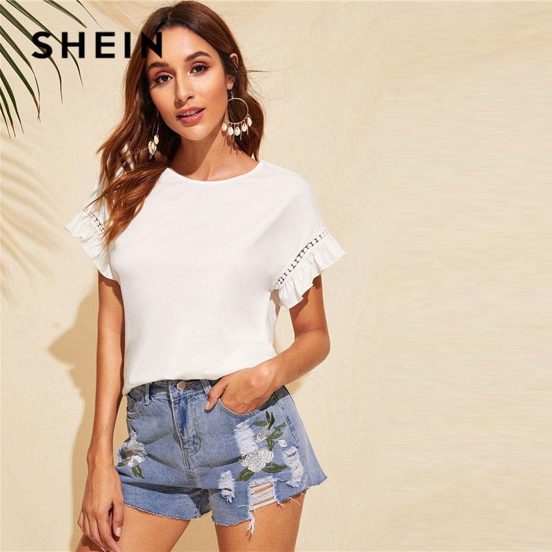 0f4da04507 Aliexpress.com : Buy SHEIN Ruffle Trim Guipure Lace Detail White T Shirt  Ladies Tops Summer Casual Cute Solid Short Sleeve Stretchy Women Tshirt  from ...