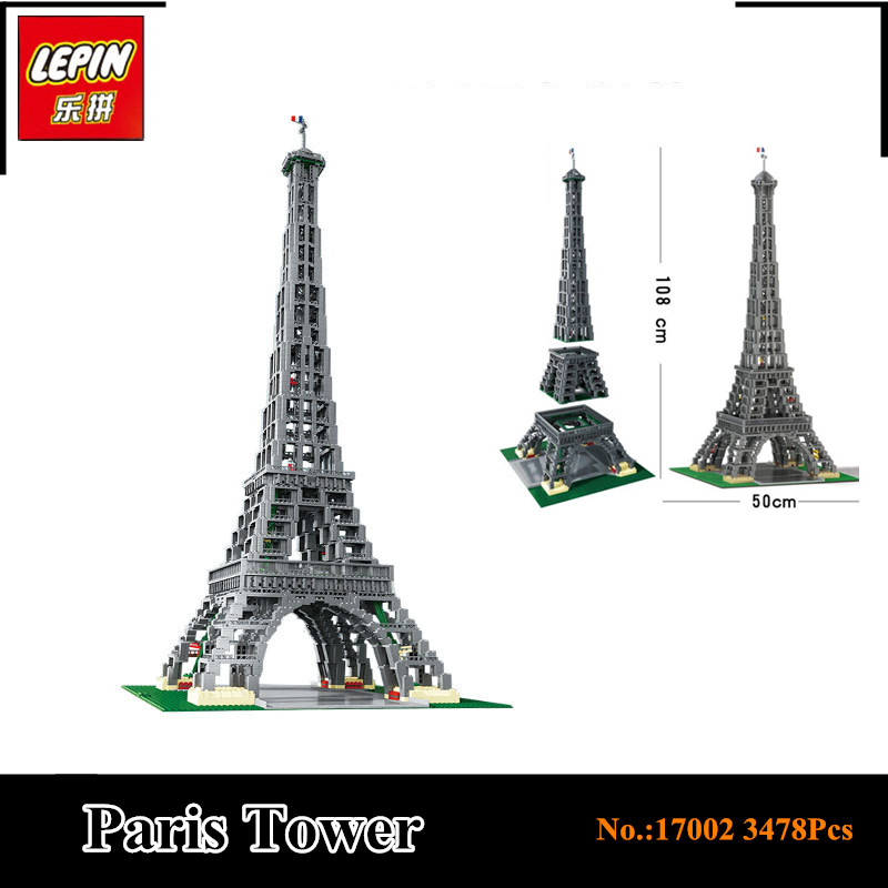 IN STOCK NEW LEPIN 17002 3478pcs The Eiffel Tower Model Building Kit mini Blocks Bricks Compatible With 10187 gifts