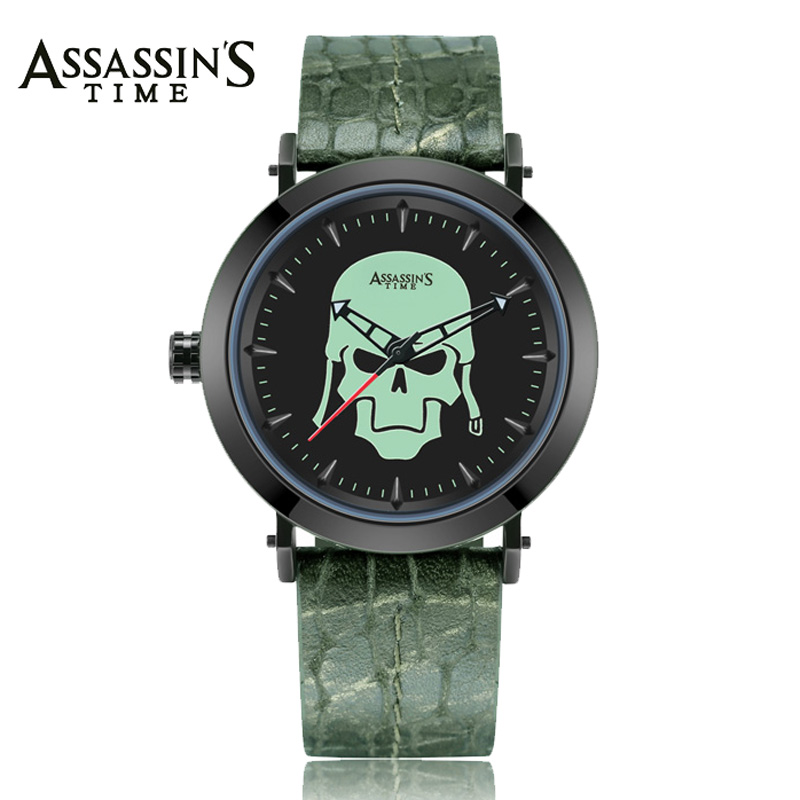 Assassin's Time Men's Watch Japan Quartz Man Hours Punk Gothic Skull Bone Fine Fashion Clock Genuine Leather Boy's Birthday Gift