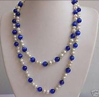 YCFU,.V Free shipping >>>>>>51 inches beautiful White pearl&Blue opal necklace