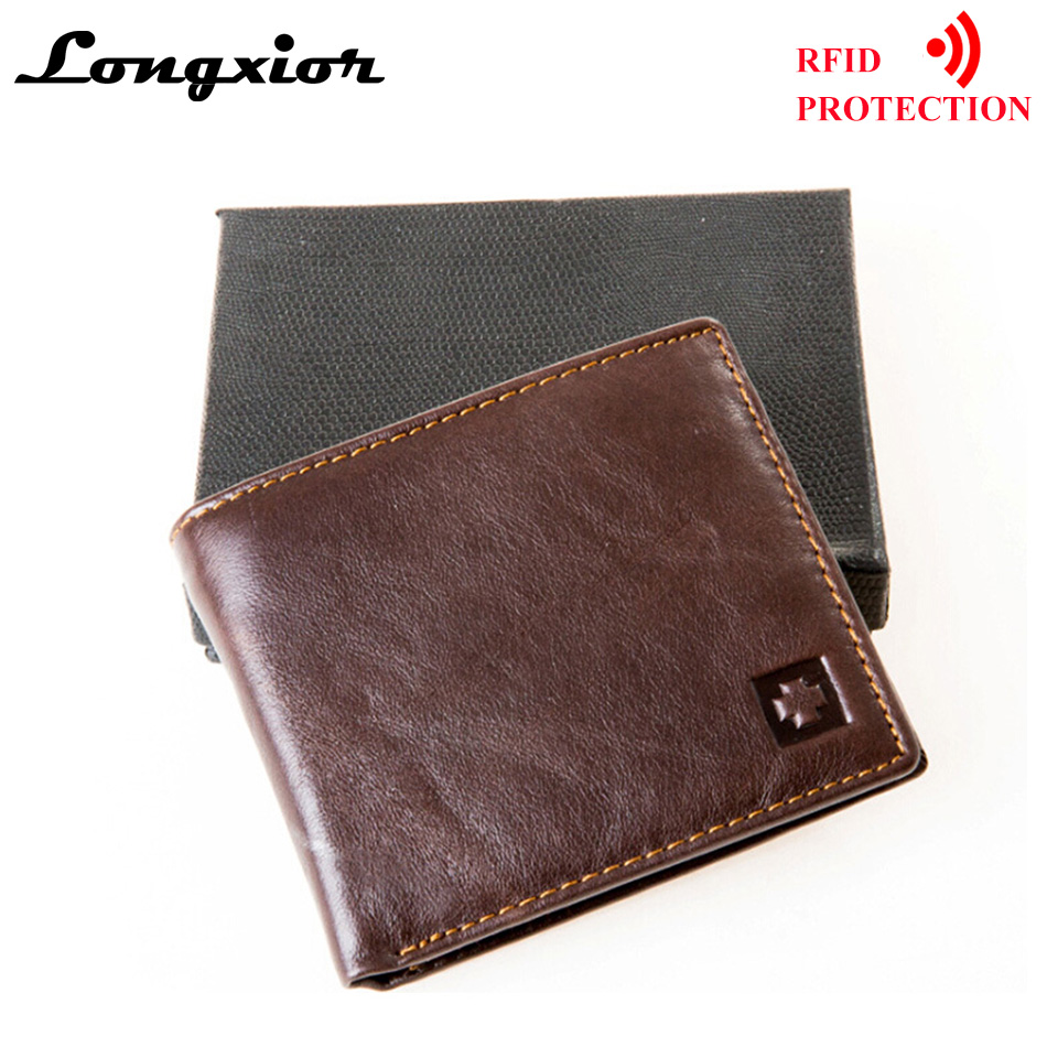 afa80d251906 MRF1 RFID Blocking Wallet Men Genuine Cow Leather Vintage Purses Identity  Theft Protection Money Bag Cards