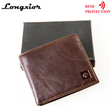 MRF1 RFID Blocking Wallet Men Genuine Cow Leather Vintage Purses Identity Theft Protection Money Bag Cards Holder Clutch Wallets(China)