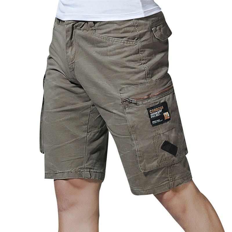 FUMUD Fashion Trend Brand Shorts NEW Summer Mens Baggy Multi Pocket Military Cargo Short breeches Male Long Army Tactical Short