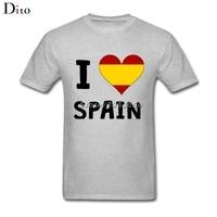 I Love Heart Spain T Shirt Men Male Latest Design Short Sleeve Crewneck Cotton 3XL Team T Shirts