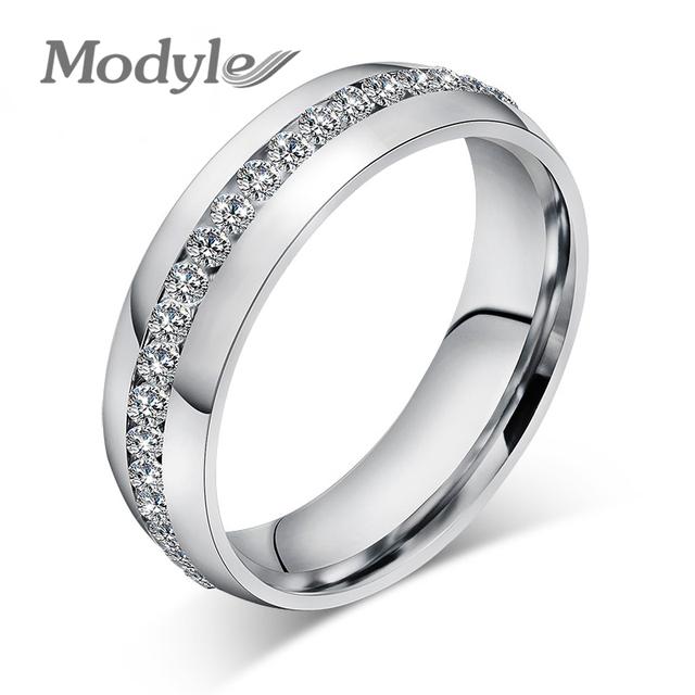 Modyle moda anillo de diseño de la boda exquisito de acero inoxidable con incrustaciones de circonio cúbico para las mujeres