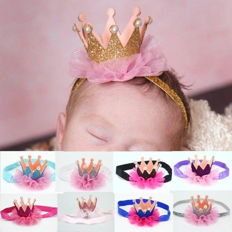 Fashion 1 Pc Kids Birthday Crown   Headwear   Lace Flowers Imitation Pearls Headband Hair Accessories 13 Colors