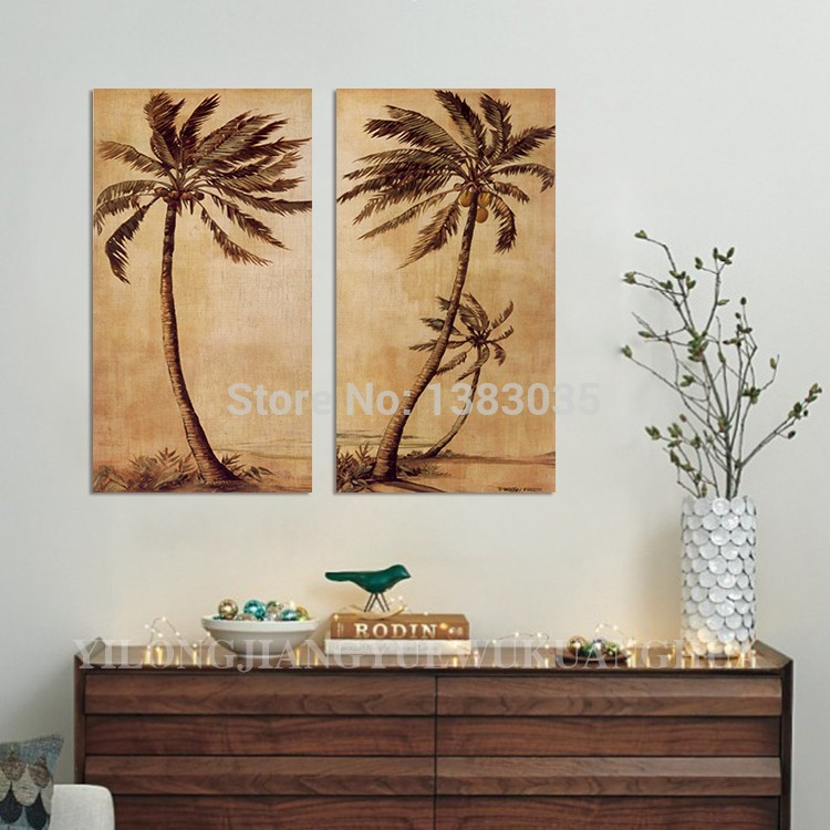 hand painted abstract palm tree paintings on canvas 2 piece oil pictures wall art decoration. Black Bedroom Furniture Sets. Home Design Ideas