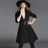 2016 High Quality Autumn And Winter European Retro Dress Long Women Trench Coat Fashion Manteau Femme