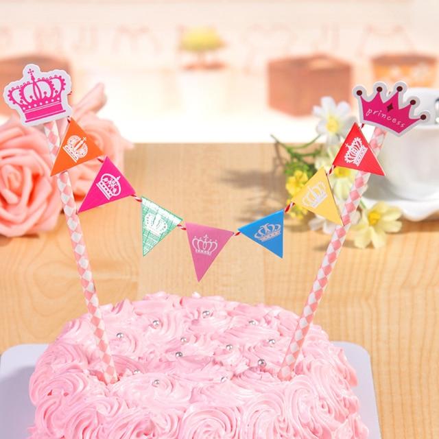 Straw String Banner Happy Birthday Princess Crown Cake Toppergirls