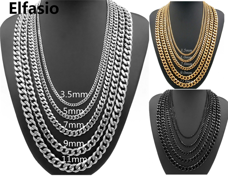 Elfasio Mens Chain Stainless Steel Necklace Jewelry
