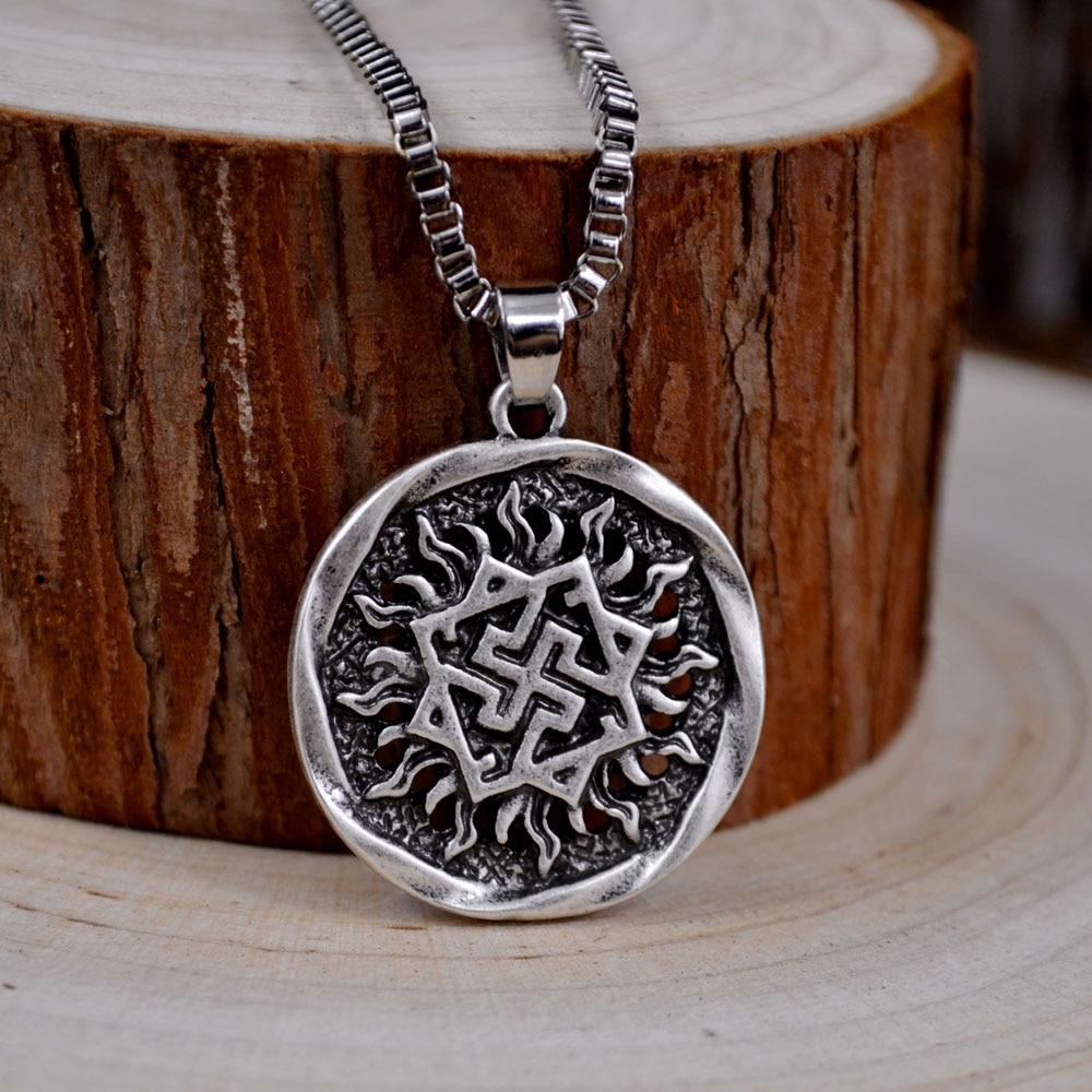 Viking Valknut Pendant Men's Necklace Women Round Pagan Religious