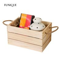 FUNIQUE Home Storage Wooden Box Solid Wood Storage Box Table Book Toys Container Rectangular Decorative Display Wooden Basket
