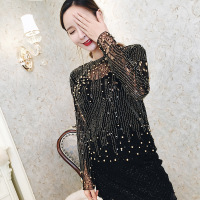 2017 Summer Fashion Lace Women Blouse O Neck Long Sleeve Heavy Handmade Sequins Beading Blusas Femininas