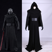 Movie Star Wars The Force Awakens Kylo Ren Cosplay Costume Halloween Carnival Black Jedi Robe Cloak Fantastic Adult Costume