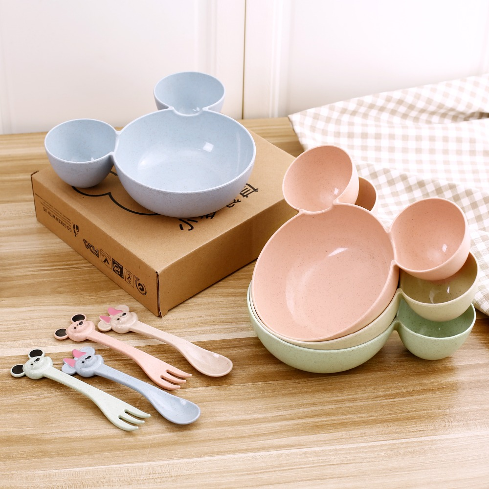 Купить с кэшбэком 3 Pcs Children Plates  Children Baby Bamboo Tableware Solid Feeding Mickey Dishes Baby Bowl Plate Food Feeding Dinnerware Set