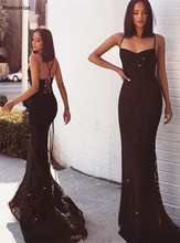 2019 Black Mermaid Evening Dresses Long Spaghetti Strap Backless Sweep Train Lace Appliques Prom Party Formal Gowns
