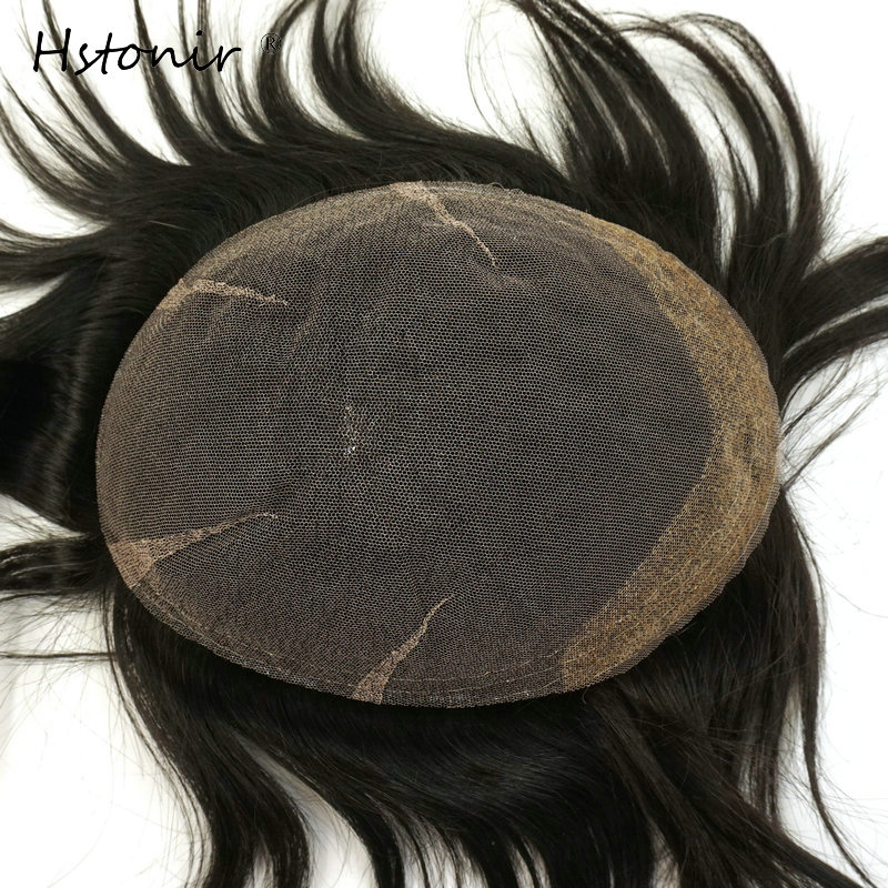 Hstonir Mens Toupee French Lace Tangle Free 100% Real Remy Hair Toupee For Men Hairpiece Naturel H037