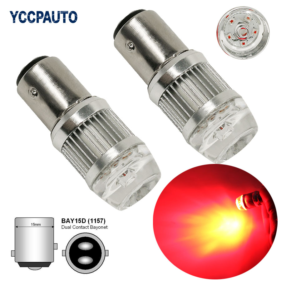 1157 P21/5W BAY15D CREE Chip 6XBD LED Car Brake Tail Light Parking Lamp Rear Reverse Fog Light White Red Yellow 2Pc Super Bright