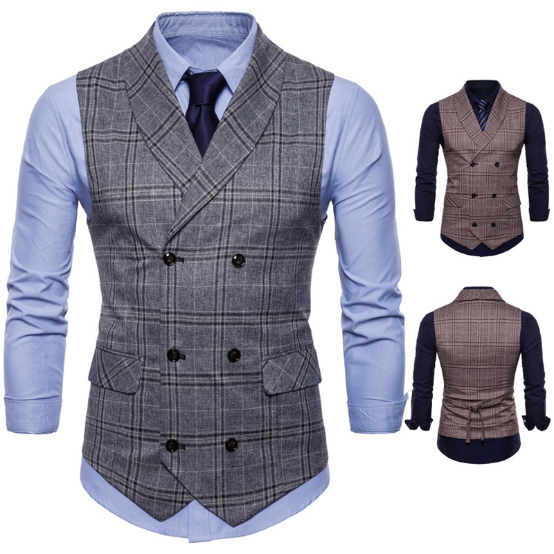 2018 new plaid suit vest men's fashion business casual British style gentleman dress men's fashion suit waistcoat
