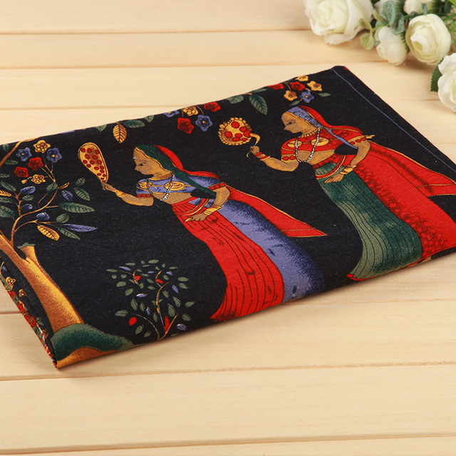d97df0a535 Antigo Egito Índia Tecido Para O Vestido de Roupas Algodão e Linho Arte  Pano Mesa De Chá Tapete Folha Tecidos Largura 147 cm