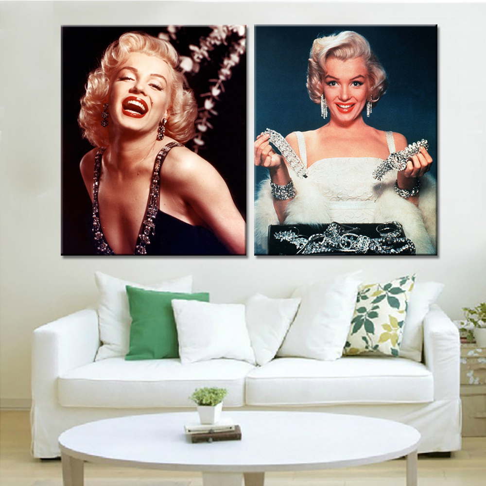Drop Shipping 2 Pieces Home Decor Famous Actress Posters