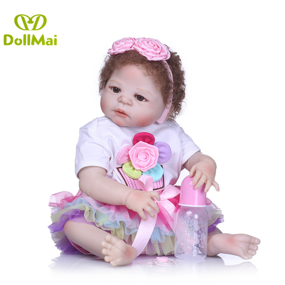 Reborn dolls 57cm rooted  hair full silicone body reborn baby dolls newborn girl baby alive doll for child bebe gift reborn  Reborn dolls 57cm rooted  hair full silicone body reborn baby dolls newborn girl baby alive doll for child bebe gift reborn