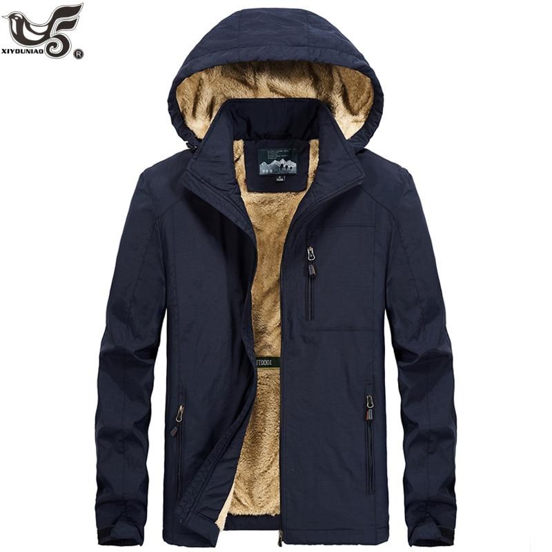 XIYOUNIAO Plus Size M~5XL 6XL Fur Hooded Winter Jacket Men Fashion Warm Wool Liner Man Jacket And Coat Windproof Male Parkas