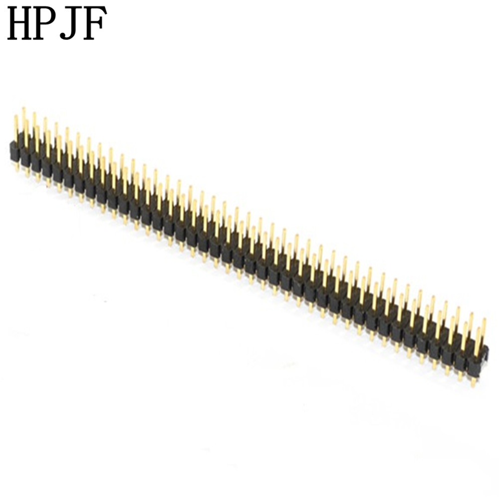 5PCS Gold Plated Pitch 2.54mm 2x40 Pin 80 Pin Double Row Male Pin Header Strip Straight Needle Connector 10pcs gold plated pitch 2 54mm 1x40 pin 40 pin double row smt smd male pin header strip connector