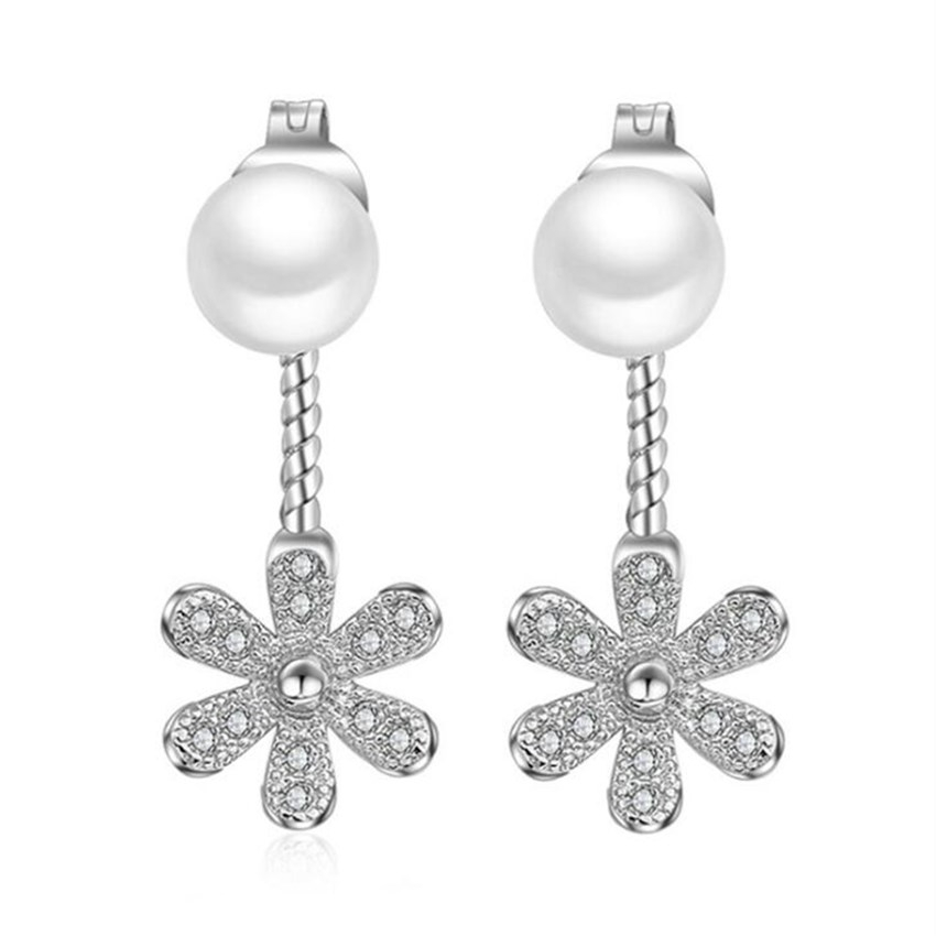 925 sterling silver High quality lady fashion cute crystal flower pearl long paragraph flowing water retro stud earrings jewelry