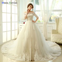 Real Photo Gorgeous Ball Gown Wedding Dresses 2017 Lace Applique White Royal Train Half Sleeve Lace