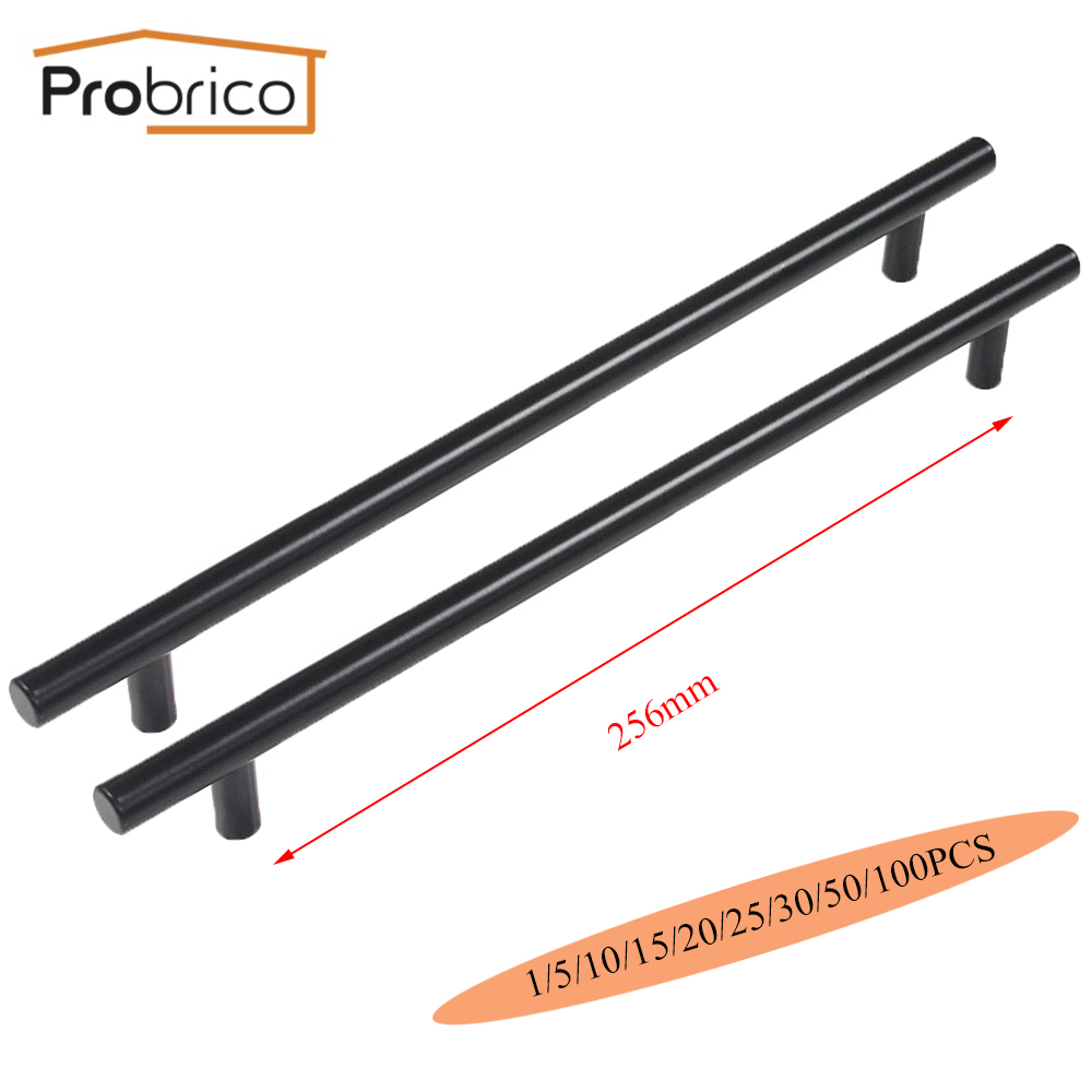 Probrico Black Stainless Steel Kitchen Cabinet T Bar Handle Diameter 12mm Hole to Hole 256mm Furniture Drawer Knob PD3383HBK256 mini stainless steel handle cuticle fork silver