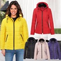 Winter Womens Long Sleeve Hooded Solid Quilted Padded Puffer Bubble Fur Collar Warm Button Stand Neck Thick Jacket Coat C810