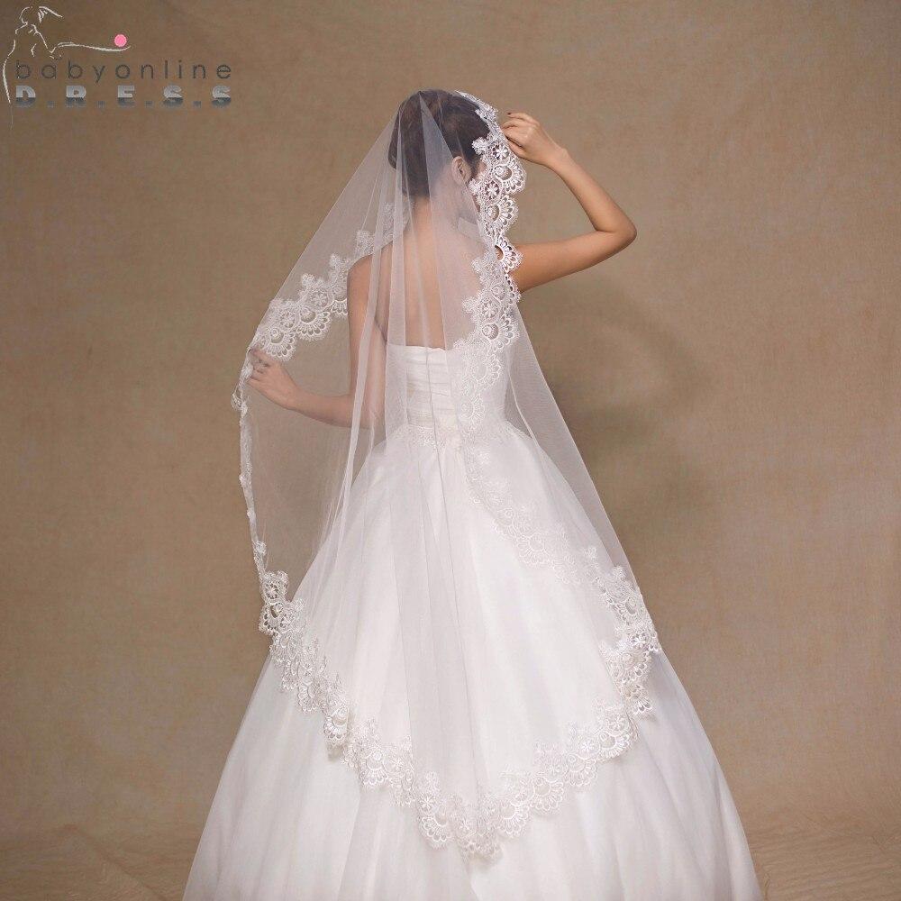 Voile Mariage 1.5M White Ivory Tulle Short Wedding Veil Lace Edge Bridal Veil No Comb Cheap Wedding Accessories Velos de Novia