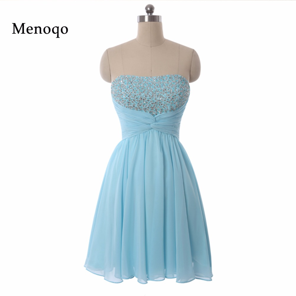 Real Sample Hot Fashion Strapless Sequin Beaded Short Homecoming Dresses Custom Made A-Line Chiffon vestidos curtos