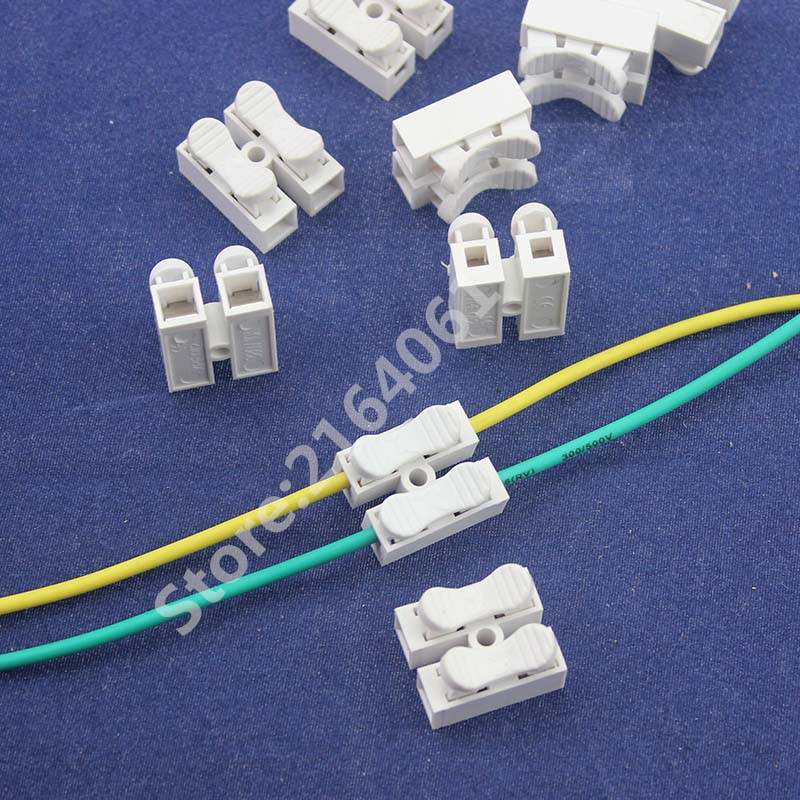 50pcs 2p Spring quick Connector wire conneting Easy to install no welding no screws cable clamp Terminal Block 2 Way for LED 10pcs lot ch 2 2p g7 spring wire quick connector splice with no welding no screws cable clamp terminal 2 way easy fit led strip