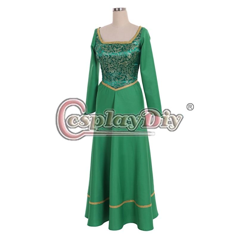 New Shrek Princess Fiona Dress Princess Cosplay Theater Costume Gown Green