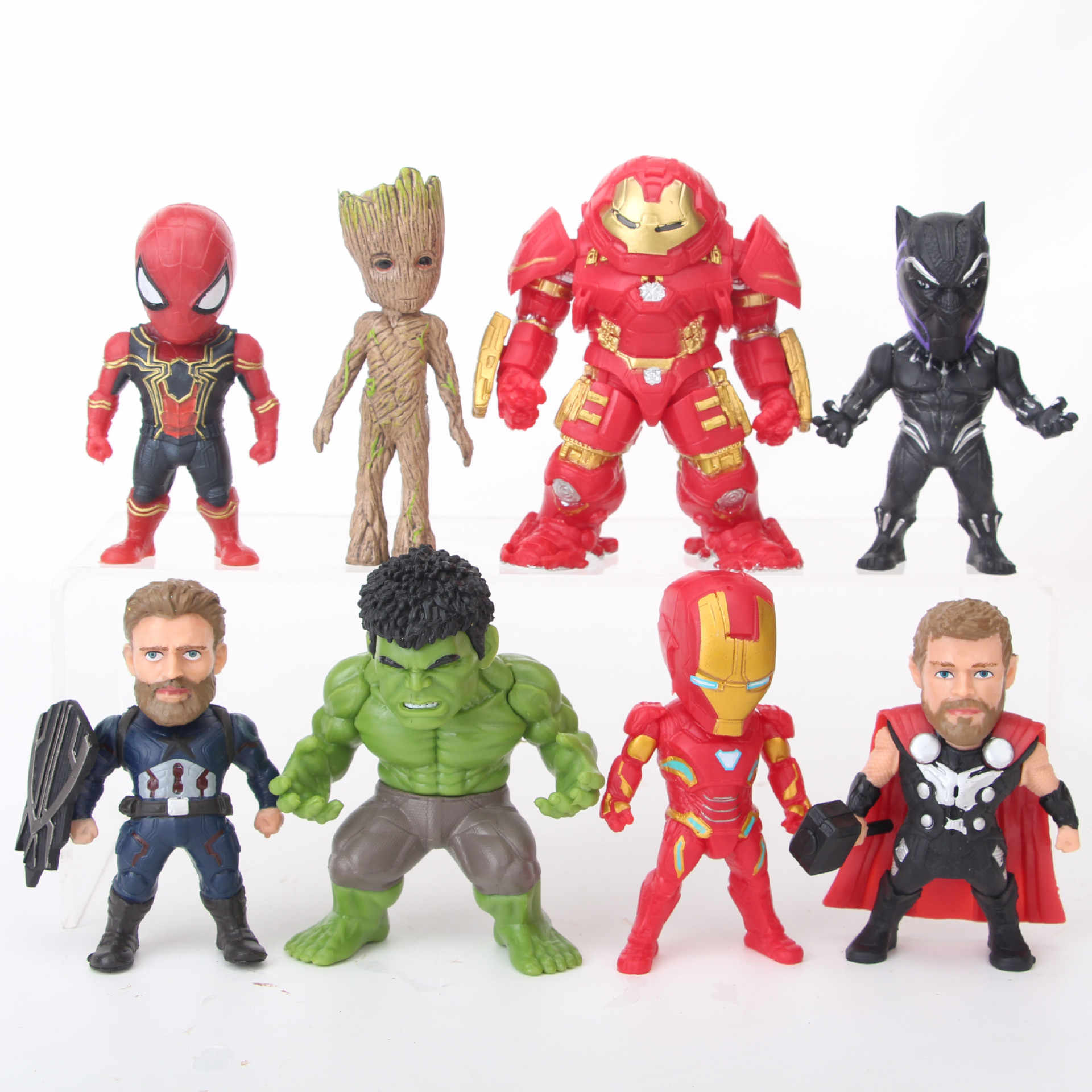 8 pz/set Marvel Avengers Infinity Guerra Hulkbuster IronMan Thor Captain America Spiderman Black Panther Hulk Figura Giocattoli