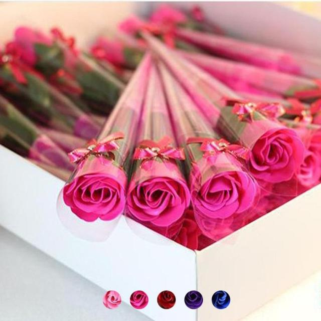 10 Pcs Soap Rose With PVC Roll Paper Artificial Flowers Real Touch Home Decoration For Wedding Party Or Birthday 3