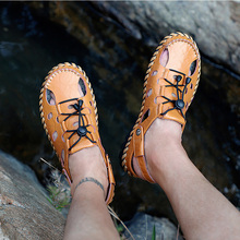 HEBENDUO Mens shoes, beach large sandals, mens fashionable leather casual sandals and slippers